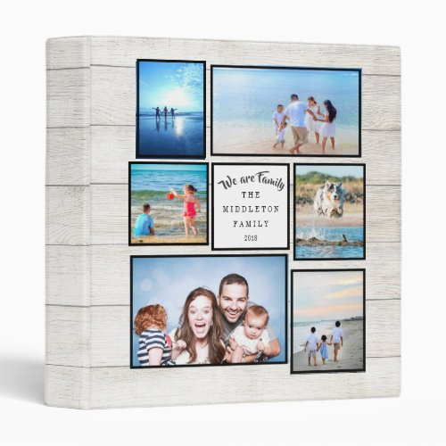 Photo Collage Family Rustic Memories We are Family 3 Ring Binder