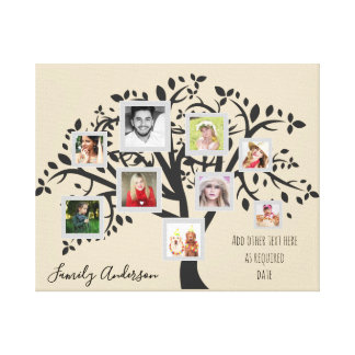 Photo Collage Family Tree Template Personalized Canvas Print
