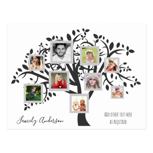 photo collage family tree template personalized postcard zazzle com