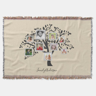 Photo Collage Family Tree Template Personalized Throw