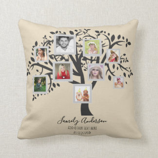 Photo Collage Family Tree Template Personalized Throw Pillow
