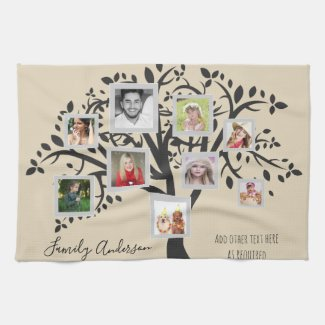 Photo Collage Family Tree Template Personalized Towel