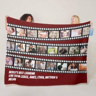Photo Collage Film Strip Personalized DIY Custom Fleece Blanket