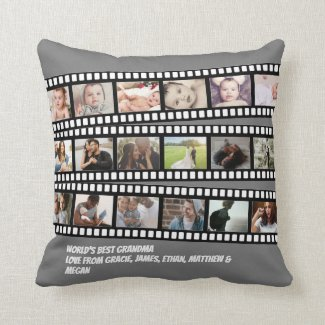 Photo Collage Film Strip Personalized DIY Custom Throw Pillow