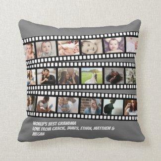 Photo Collage Film Strip Personalized DIY Custom Throw Pillow