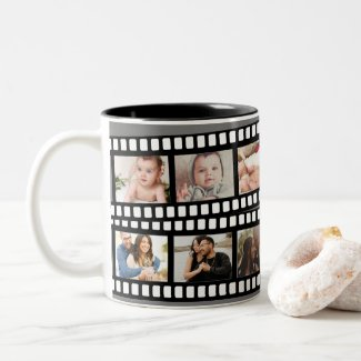 Photo Collage Film Strip Personalized DIY Custom Two-Tone Coffee Mug