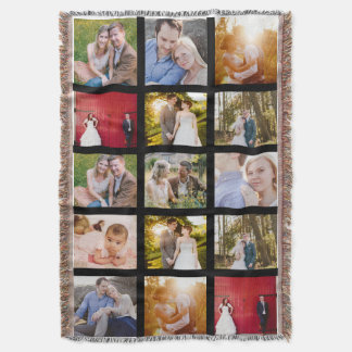 Photo Collage Gift 15 photo blanket   Black frames Throw Blanket