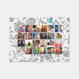 Photo Collage Gray Floral Family Photos Fleece Blanket