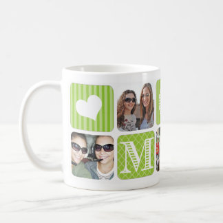 Photo Collage Green Coffee Mug