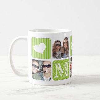 Photo Collage Green Coffee Mugs