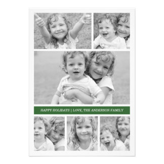Photo Collage Holiday Photocard - Green Personalized Announcement
