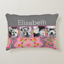 Photo Collage Hot Pink and Orange Flowers Decorative Pillow