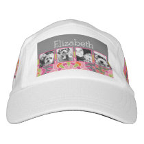 Photo Collage Hot Pink and Orange Flowers Headsweats Hat