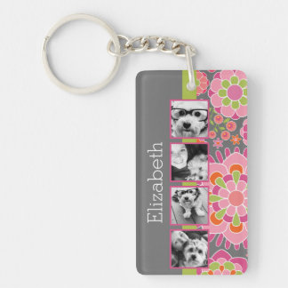Photo Collage Hot Pink and Orange Flowers Keychain