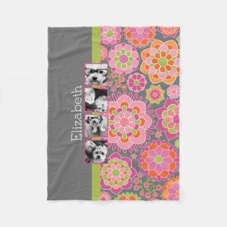 Photo Collage Hot Pink and Orange Flowers Fleece Blanket