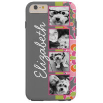 Photo Collage Hot Pink and Orange Flowers Tough iPhone 6 Plus Case