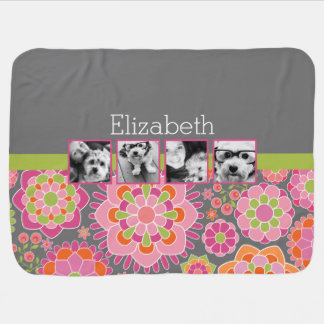 Photo Collage Hot Pink and Orange Flowers Swaddle Blankets