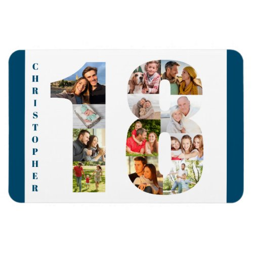 Photo Collage in Number 18 _ 18th Birthday Magnet