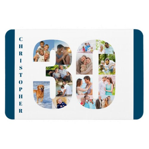 Photo Collage in Number 30 _ 30th Birthday Magnet
