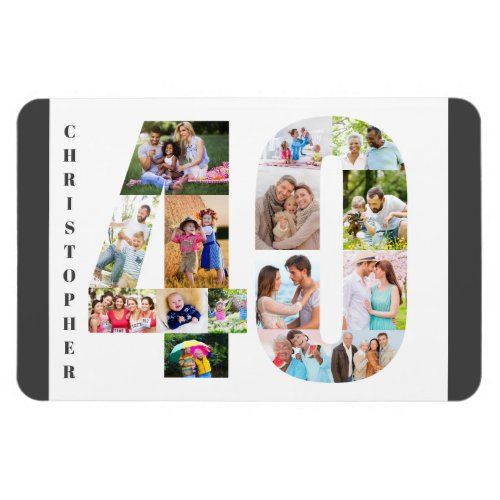 Photo Collage in Number 40 _ 40th Birthday Magnet