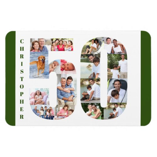 Photo Collage in Number 50 _ 50th Birthday Magnet