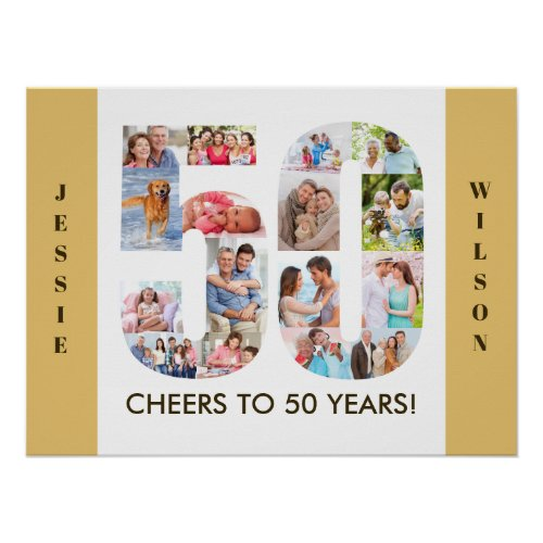 Photo Collage in Number 50 Neutral 50th Birthday Poster