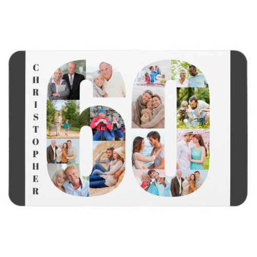 Photo Collage in Number 60 _ 60th Birthday Magnet