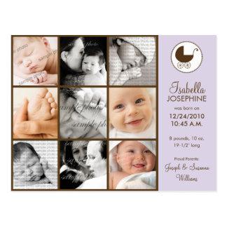 Photo Collage Lavender Baby Birth Announcement Postcard