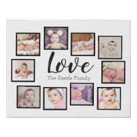Photo Collage LOVE 10 Photo Family Faux Canvas Print