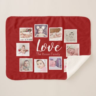 Photo Collage LOVE Themed Unique Personalized Sherpa Blanket