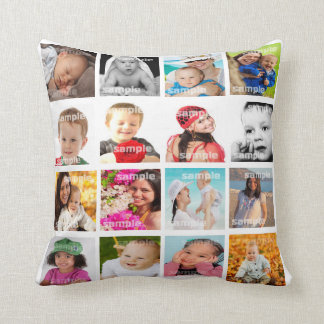Photo Collage Make Your Own DIY Pillow V2 Throw Pillow