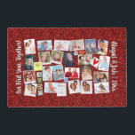 """Photo Collage Memories Anniversary Red Glitter Placemat<br><div class=""""desc"""">It&#39;s easy to make a &quot;baby&#39;s first year, &quot; &quot;year in review&quot; or &quot;our first year together&quot; memory board design with this template! Gather your favorite photos or or other graphics (27 of them), then have them printed on this red glitter-look photo collage design. There&#39;s also custom text on the...</div>"""