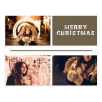 Photo Collage Modern Holiday Merry Christmas Postcard