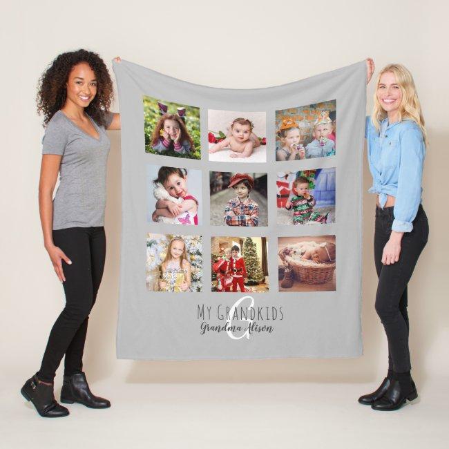 Photo Collage Monogram Grandparent Grandkids Gray Fleece Blanket