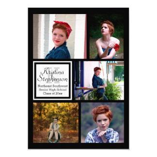 Photo Collage Monogram High School Graduation Card