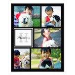 Photo Collage Monogram Print, Five Pictures