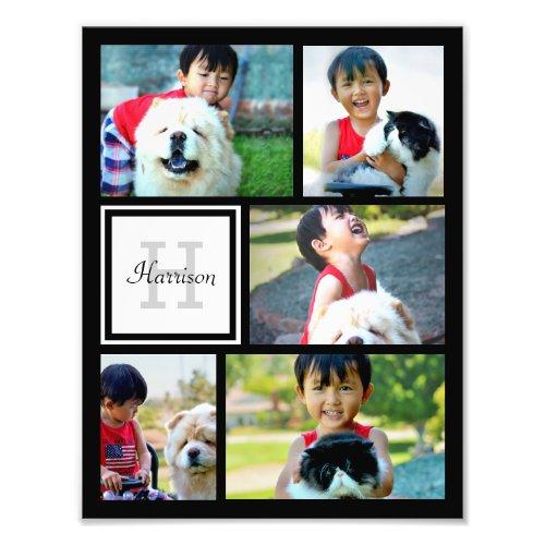 Photo Collage Monogram Print Five Pictures