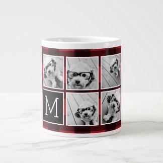 Photo Collage - Monogram Red Black Buffalo Plaid 20 Oz Large Ceramic Coffee Mug