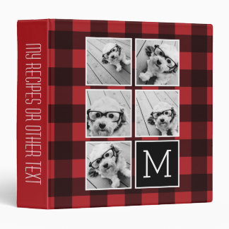 Photo Collage - Monogram Red Black Buffalo Plaid 3 Ring Binder