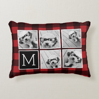 Photo Collage - Monogram Red Black Buffalo Plaid Accent Pillow