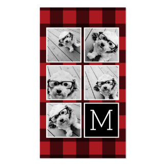Photo Collage - Monogram Red Black Buffalo Plaid Double-Sided Standard Business Cards (Pack Of 100)
