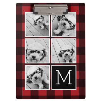 Photo Collage - Monogram Red Black Buffalo Plaid Clipboard