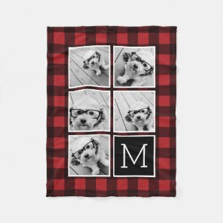 Photo Collage - Monogram Red Black Buffalo Plaid