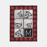 Photo Collage - Monogram Red Black Buffalo Plaid Fleece Blanket at Zazzle