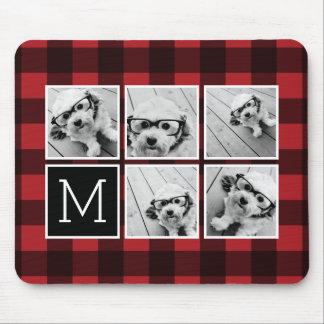 Photo Collage - Monogram Red Black Buffalo Plaid Mouse Pad