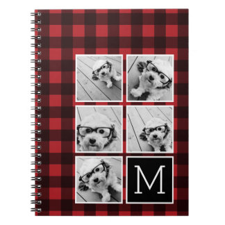 Photo Collage - Monogram Red Black Buffalo Plaid Notebook