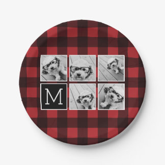Photo Collage - Monogram Red Black Buffalo Plaid Paper Plate