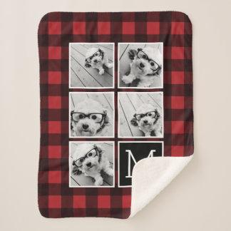 Photo Collage - Monogram Red Black Buffalo Plaid Sherpa Blanket