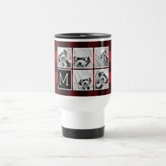 Photo Collage - Monogram Red Black Buffalo Plaid Travel Mug