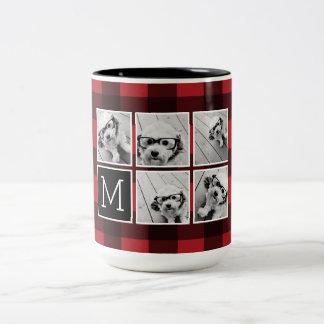 Photo Collage - Monogram Red Black Buffalo Plaid Two-Tone Coffee Mug